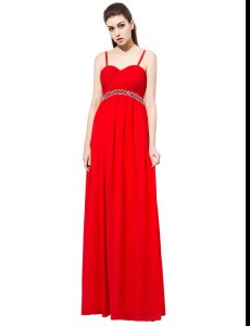 Stylish Red Sleeveless Chiffon Side Zipper Evening Dress for Prom and Party