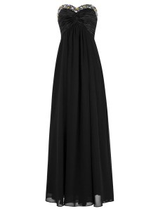 Black Chiffon Zipper Sweetheart Sleeveless Floor Length Prom Dresses Beading