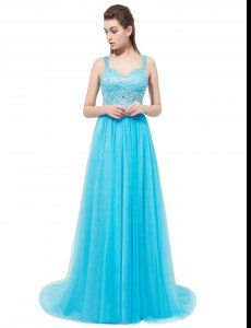 Latest Aqua Blue Sleeveless Brush Train Beading With Train Prom Party Dress