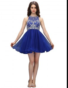 Delicate High-neck Sleeveless Zipper Celeb Inspired Gowns Royal Blue Organza