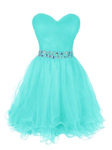Turquoise A-line Sweetheart Sleeveless Organza Mini Length Zipper Beading and Ruffled Layers Prom Dresses
