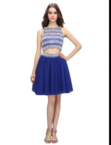 Empire Red Carpet Gowns Royal Blue Scoop Chiffon Sleeveless Knee Length Backless