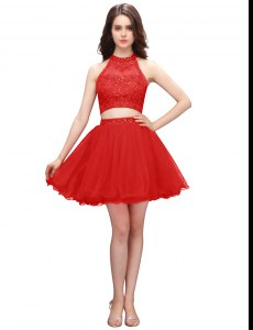 Popular Coral Red High-neck Neckline Beading Celebrity Dress Sleeveless Zipper