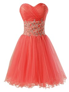 Fantastic Watermelon Red Sweetheart Zipper Beading Cocktail Dresses Sleeveless