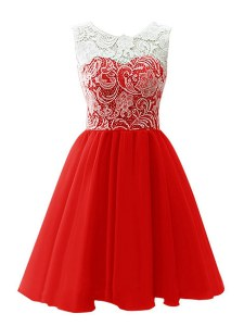 Scoop Mini Length Red Prom Party Dress Chiffon Sleeveless Lace