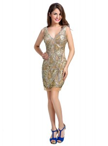 Champagne Organza Zipper V-neck Sleeveless Mini Length Cocktail Dress Beading