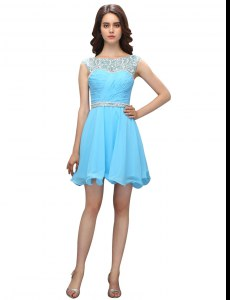 Baby Blue Bateau Zipper Beading and Ruching Celebrity Dresses Sleeveless