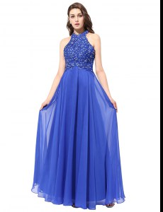 Dramatic Blue Chiffon Backless Halter Top Sleeveless Floor Length Homecoming Dress Beading and Lace