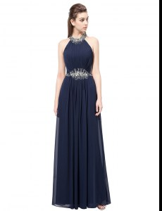 Delicate Scoop Navy Blue Side Zipper Beading Sleeveless Floor Length