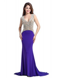 Fabulous Sleeveless Brush Train Backless With Train Beading Homecoming Gowns
