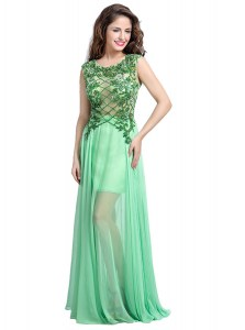 Sophisticated Apple Green Backless Scoop Beading and Appliques Tulle Sleeveless