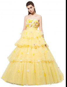 Eye-catching Organza Sleeveless With Train Formal Dresses and Ruffled Layers and Hand Made Flower