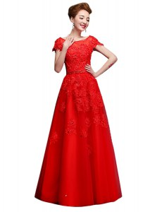 Artistic Red Bateau Neckline Lace Dress for Prom Short Sleeves Lace Up