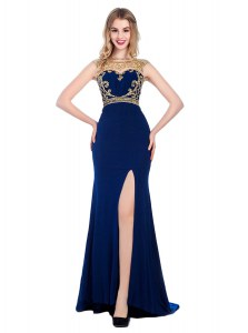 High-neck Sleeveless Silk Like Satin High School Pageant Dress Beading and Appliques Sweep Train Zipper