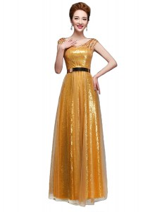 Charming Scoop Cap Sleeves Beading and Sequins and Belt Zipper Evening Party Dresses
