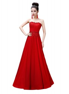 Red Empire Chiffon Strapless Sleeveless Beading Floor Length Lace Up Prom Dresses