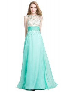 Colorful Turquoise Prom and Party and For with Beading Scoop Sleeveless Zipper