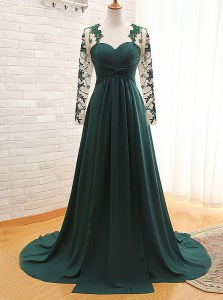 Dazzling Teal Empire Satin Sweetheart Long Sleeves Lace With Train Zipper Prom Dresses