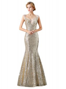 Suitable Mermaid Champagne Sequined Zipper Prom Gown Sleeveless Floor Length Sequins