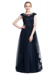 Black Tulle Zipper Bateau Sleeveless Floor Length Prom Dresses Beading