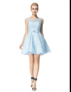 Scoop Sleeveless Mini Length Lace and Belt Zipper Club Wear with Light Blue