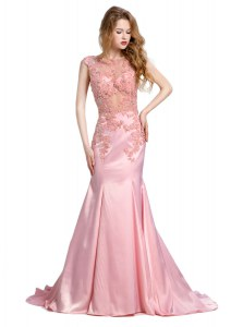 Mermaid Scoop Baby Pink Backless Going Out Dresses Beading Sleeveless With Brush Train