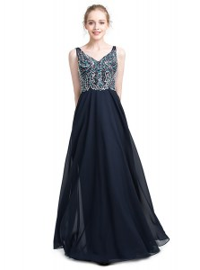 High End Floor Length Zipper Homecoming Dresses Black for Prom and Party with Beading
