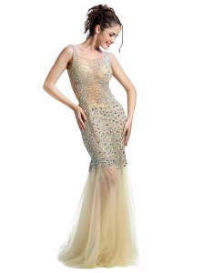 Floor Length Mermaid Sleeveless Champagne Prom Evening Gown Backless