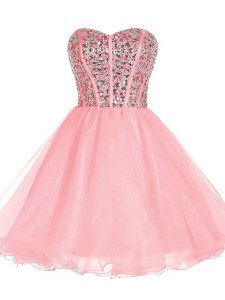 Pink A-line Sweetheart Sleeveless Organza Mini Length Zipper Beading and Ruffled Layers Cocktail Dress