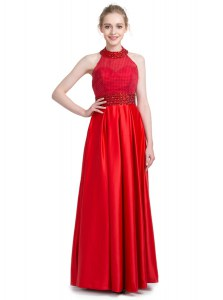 Shining Red Column/Sheath Taffeta Halter Top Sleeveless Beading Floor Length Zipper Prom Gown