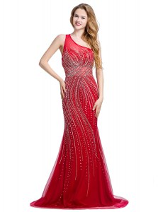 Free and Easy One Shoulder Sleeveless With Train Beading Zipper Dress for Prom with Red Brush Train