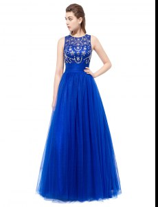 Extravagant Scoop Sleeveless Beading Backless Evening Dress