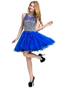 Royal Blue Tulle Zipper Scoop Sleeveless Mini Length Cocktail Dresses Beading