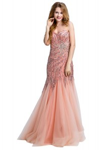 Mermaid Peach One Shoulder Neckline Beading Prom Dresses Sleeveless Side Zipper