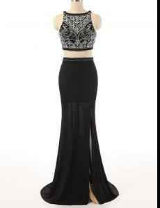 Scoop Black Sleeveless Brush Train Beading With Train Prom Evening Gown