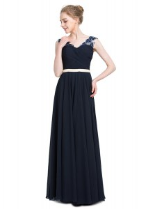 Excellent Navy Blue Chiffon Zipper V-neck Sleeveless Floor Length Pageant Dress Wholesale Beading