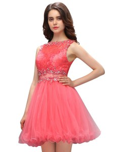 Lovely Beading and Lace Cocktail Dress Watermelon Red Zipper Sleeveless Mini Length