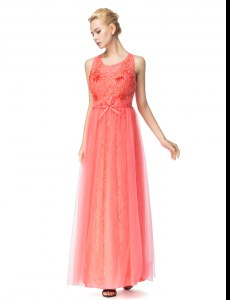 Affordable Scoop Watermelon Red Organza and Tulle Zipper Prom Party Dress Sleeveless Floor Length Beading and Bowknot