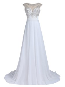 Brush Train Column/Sheath Prom Evening Gown White Scoop Chiffon Sleeveless With Train Backless