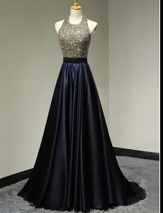 Flare Halter Top Sleeveless Prom Evening Gown With Brush Train Beading Navy Blue Satin