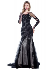 Mermaid Long Sleeves Court Train Zipper With Train Lace Prom Evening Gown