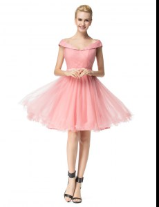 Best Selling A-line Club Wear Pink Off The Shoulder Tulle Cap Sleeves Knee Length Zipper