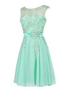 Charming Turquoise Scoop Neckline Beading and Appliques Homecoming Dress Sleeveless Zipper