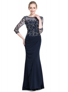 Cute Floor Length Navy Blue Prom Evening Gown Chiffon 3 4 Length Sleeve Beading and Appliques