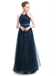 Adorable Halter Top Navy Blue Empire Beading Prom Dress Zipper Tulle Sleeveless Floor Length