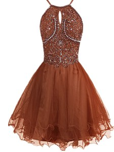 Cute Brown Zipper Halter Top Beading Cocktail Dresses Organza Sleeveless