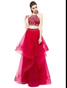 Stylish Red Homecoming Dress Prom and Party and For with Beading High-neck Sleeveless Zipper