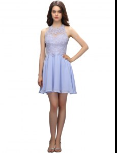 Lavender Celebrity Dress Prom and Party and For with Beading and Appliques High-neck Sleeveless Zipper