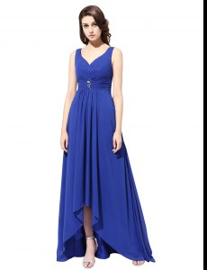 Shining Royal Blue Column/Sheath Ruching Prom Party Dress Zipper Chiffon Sleeveless With Train