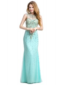 Simple Beading Dress for Prom Turquoise Zipper Sleeveless With Brush Train